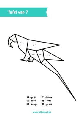 Tafels oefenen papegaai kleurplaat