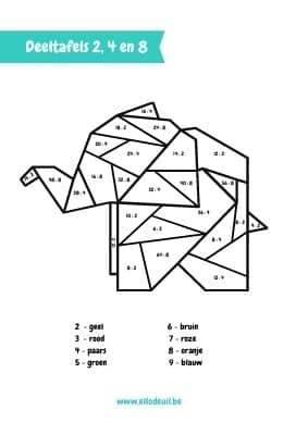Deeltafels van 2, 4 en 8 olifant kleurplaat