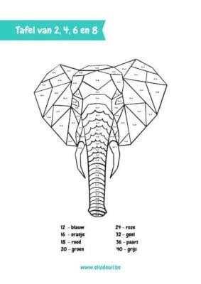 tafel van 2, 4, 6 en 8 olifant kleurplaat