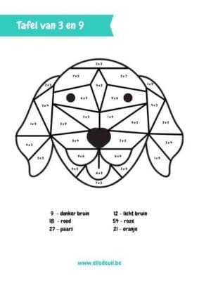 tafel van 3 en 9 hond kleurplaat